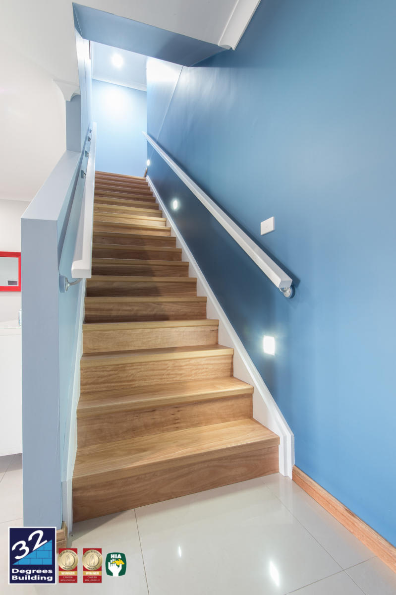 Staircase finished in engineered timber flooring Second storey addition, Harrington Park