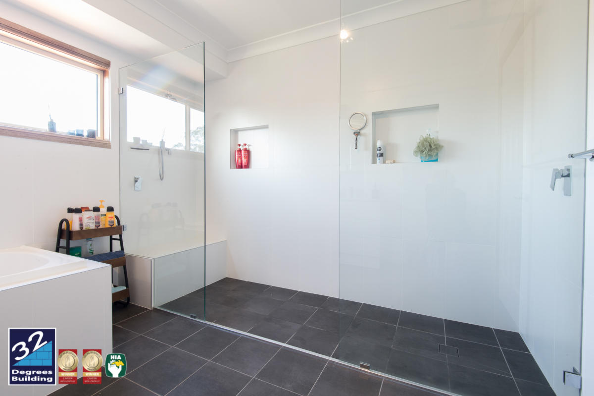 Double shower with nib wall in Second storey addition, Harrington Park